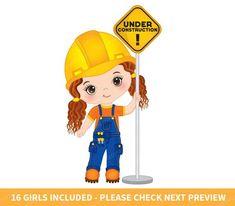 Construction Girls Clipart Vector Construction Clipart Girl | Etsy Construction For Kids, Construction Birthday Parties, Vbs Crafts, Crafts For Kids, Safety Pictures, Toddler Class, Girls Clips, Baby Girl Dress Patterns, Job Fair