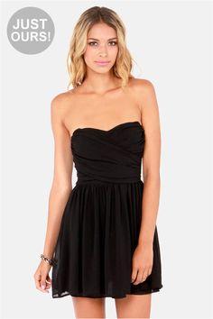 strapless short black dress