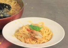 Linguine sauce tomate fraîche à l'origan, mozzarella et gambas rôties