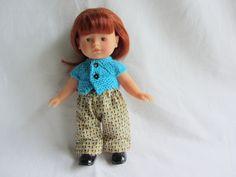 Habit de poupée : ensemble gilet bleu cyan et pantalon pour poupée corolline : Jeux, jouets par tante-jeanne