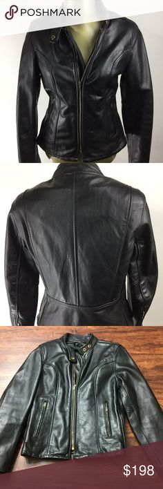 VINTAGE MOTORCYCLE Biker JACKET quality leather VINTAGE MOTORCYCLE Biker JACKET Thick Black Quality Leather Women's Size 10  BRAND:  LEATHER MOTORCYCLE JACKET STYLE:  Full Zip Up Lined Black Vintage Leather Jacket Color:  Black Size:  10 Measurements:   Please see photos. Condition: Gently used, High Quality, Excellent condition, without insert or Brand tag, as seen in images, with minimal signs of wear. Materials:  100 % Leather              --- FAST SHIPPING --- VINTAGE MOTORCYCLE JACKET…
