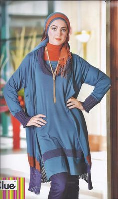 Clue's long blue top with matching jacket has sweater-knit accents