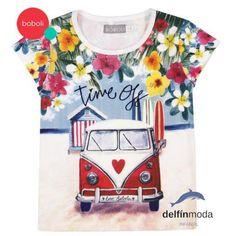 "Camiseta de manga corta de niña BOBOLI serigrafia furgoneta ""hipie"""