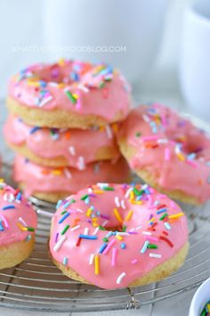 Gluten Free Yellow Cake Donuts (and dairy free) from @whattheforkblog | whattheforkfoodblog.com | Sponsored by New England Coffee
