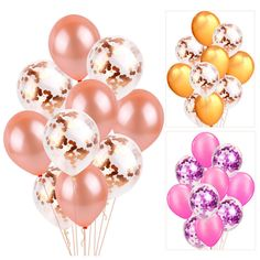 Buy Confetti Balloons Latex Ballons Wedding Party Baby Shower Birthday Party Decor at Wish - Shopping Made Fun Led Balloons, Gold Confetti Balloons, Foil Balloons, Wedding Balloons, Birthday Balloons, Wedding Cups, Wedding With Kids, Wedding Ideas, Rose Gold Foil
