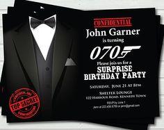 70th birthday invitation for man. Surprise Birthday Invitation. James Bond theme party. Casino Royale, 70th birthday printable DIY AB48