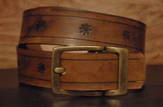 Antique Leather Belt  Engraved Stars   Size  by CUERO925LEATHER, €22.00
