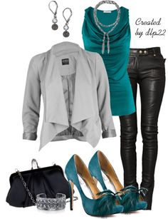 """""""Teal and Gray"""" by dlp22 on Polyvore"""