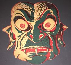 "1950's-1960's VINTAGE CARDBOARD MONSTER MASK (8 X 9"") EXCELLENT ~ GILL MAN #2!"