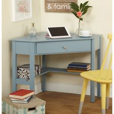 Simple Living Ellen Corner Desk (Antique Blue)