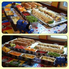 """Food train I made for my 2 little boys 4th """"Thomas the tank"""" themed party"""