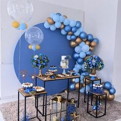How cute is this welcoming party for a little baby angel prince 👼 💙 Comment your thoughts below 💭 💭 1st Birthday Boy Themes, Baby Birthday, Birthday Party Decorations, Wedding Decorations, Shower Party, Baby Shower Parties, Baby Shower Themes, Baby Boy Shower, Balloon Garland