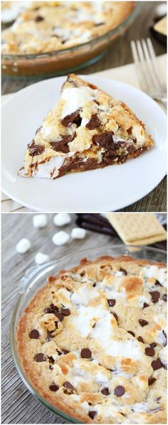S'mores Pie on twopeasandtheirpod.com This easy pie is always a favorite dessert! {yummmm! did not use chocolate chips, instead used extra hershey bar squares, used 6 or less hershey bars not 8 like the recipe says 7.6.15}