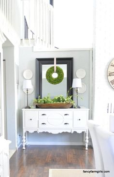 Farmhouse love Farmhouse dining buffet decor 26 best ideas Update your Furniture with New Sideboard Dekor, Dining Room Sideboard, Dining Room Buffet, White Buffet Table, White Sideboard Buffet, Buffet Cabinet, Dining Decor, Farmhouse Buffet, Farmhouse Decor