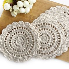 Items similar to Rustic Crochet Table Coasters, Cotton BeigeTable Doilies, Handmade Table Decoration for Dinning Room, Table Placemats Crochet Doilies on Etsy Crochet Doily Rug, Crochet Coaster Pattern, Crochet Tablecloth, Crochet Round, Crochet Home, Crochet Crafts, Crochet Flowers, Hand Crochet, Crochet Projects