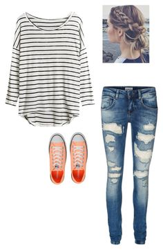pinch of orange ▪ by krnewly on Polyvore featuring polyvore, fashion, style, Vero Moda, Converse and clothing