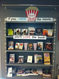While I wouldn't have time or desire to make this elaborate of a display in my classroom, I think the library's idea would be a great way to rejuvinate your classroom library at the end of the year!                                                                                                                                                     More