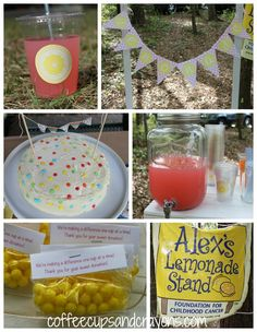 Pink Lemonade Stand themed Girls Birthday Party: Host as Alex's Lemonade Stand at your party to raise money and awareness for childhood cancer!  Celebrate by doing good!!!!