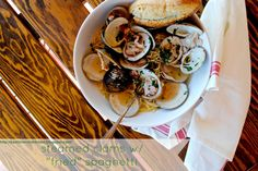 """my kaotic kitchen: take my word for it wednesday.. these steamed clams with """"fried"""" spaghetti were da bomb.com"""