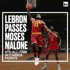 LeBron James passes Moses Malone on the all time scoring list.