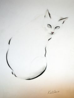 ARTFINDER: Pink Nosed Cat by Kellas Campbell - I used graphite and pastel pencils to draw my cat, Charlie. I used sepia, pink and yellow tones, in addition to black. Cat Drawing, Painting & Drawing, Cat Character, Black And White Drawing, Cat Tattoo, Cartoon Drawings, Crazy Cats, Cool Cats, Cat Art