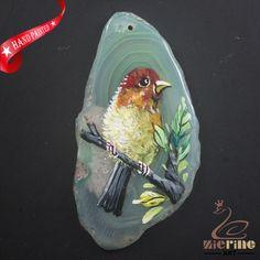 HAND PAINTED BIRD GEMSTONE CREATIVE NECKLACE PENDANT BEAD A1703 0024 #ZL #PENDANT