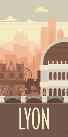 39 Ideas for design graphique vintage Ville France, Lyon France, Poster Vintage, Vintage Travel Posters, Poster City, Tourism Poster, France Travel, Adventure Travel, Infographic