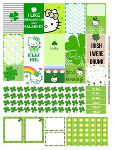 St. Patrick's Day Hello Kitty green Free printable planner stickers for MAMBI happy planner or Erin Condren vertical life planner