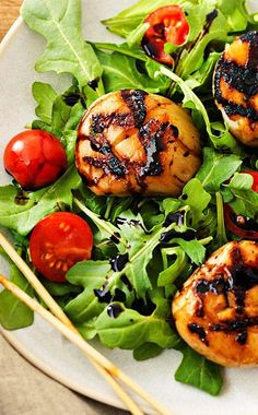 Don't let they 'syrup' fool you, this recipe is quick, easy, and above all, healthy. Grilled Herb Scallops with Balsamic Syrup.