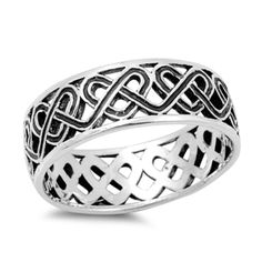 Celtic Heart Band, Sterling Silver Celtic Heart Oxidized 7MM Band Ring Size 5-13 #CelticHeartBand