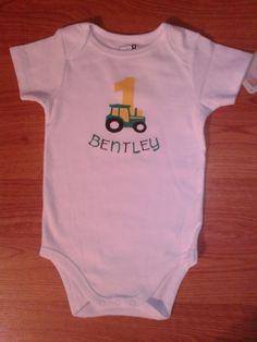 John Deere Tractor Theme 1st Birthday Boy OR Girl Onesie or Top by tiffanylynnwilliams, $8.50