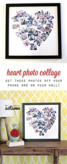 Cool DIY Photo Projects and Craft Ideas for Photos - Heart Photo Display - Easy Ideas for Wall Art, Collage and DIY Gifts for Friends. Wood, Cardboard, Canvas, Instagram Art and Frames. Creative Birthday Ideas and Home Decor for Adults, Teens and Tweens #artsandcraftsgifts,