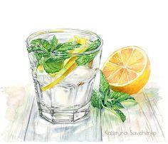 Lemonade watercolor illustration by Kateryna Savchenko