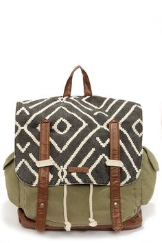 army green backpack with tribal print #backtoschool
