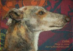 Greyhound dog portrait needle felted with wool fibers by FurryMemories.com