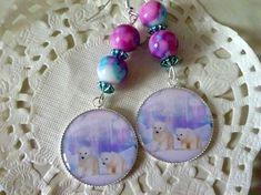 Boucles d'oreille fantaisie oursons sur la banquise et perles marbrées bleu, rose et blanc