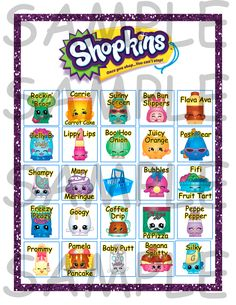 Shopkins Birthday Party Bingo Game 20 Cards **Instant Download** by ChamDigitalTreasures on Etsy https://www.etsy.com/listing/234176920/shopkins-birthday-party-bingo-game-20