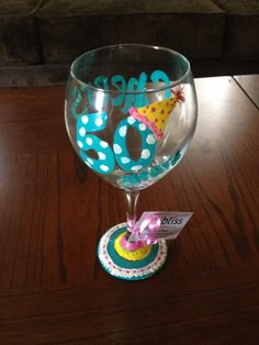 """Cheers to 50 Years"" Hand painted birthday wine glass! contact: facebook: https://www.facebook.com/pages/Artful-Bliss-4-You/156212091100840"