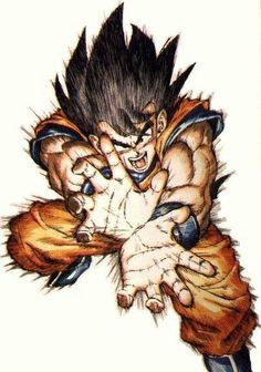 Goku performing the Kamehameha Wave.