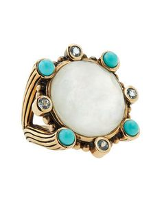 Stephen Dweck Turquoise Ring Mother Of Pearl Bronze Gold Tone Cocktail Statement #StephenDweckDesigner #CocktailStatement