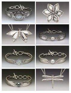 from Roses and Teacups . takes repurposed silverware to a different level . Silver Spoon Jewelry, Fork Jewelry, Silverware Jewelry, Silver Spoons, Metal Jewelry, Beaded Jewelry, Handmade Jewelry, Silver Cutlery, Jewelry Crafts