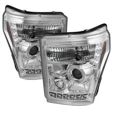 2012 FORD F-450 SUPER DUTY CHROME/CLEAR HALO LED PROJECTOR HEADLIGHTS - SPYDER AUTO