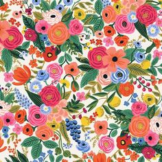 from Cotton + Steel's collaboration with Anna Bond of Rifle Paper Co. cotton linen canvas / wide horizontal repeat: / vertical repeat: the largest roses are approximately wide A classic canvas Rifle Paper floral. Paisley Fabric, Floral Fabric, Floral Prints, Cotton Fabric, Cotton Linen, Baby Fabric, Woven Cotton, Lining Fabric, Summer Crafts
