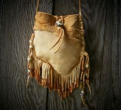 NAVAJO style Medicine Bag _ spirit pouch with deerskin leather, deer antler…