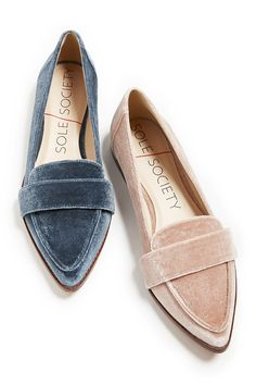 Sleek loafers in blue and pink velvet. Style these flats with skirts & dresses in summer and jeans in fall! | Sole Society Edie $90