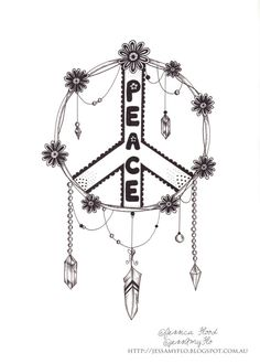 Dreamcatcher Illustration Peace Sign Illustration by JessAmyFlo, $25.00