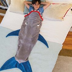 Cute Color Block Shark Blanket by Blankie Tails For Kids | TwinkleDeals.com