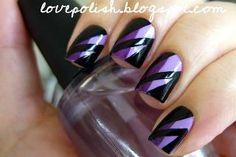 Purple Tape Nails
