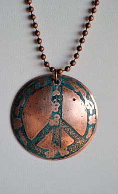 Copper Peace Sign Domed Necklace by ArKaysCreations on Etsy, $48.00