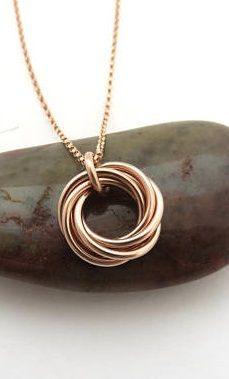 60th Birthday Gift for Women | Rose Gold Ring Necklace Handmade Jewelry by MarciaHDesigns | Six Rings for Six Decades
